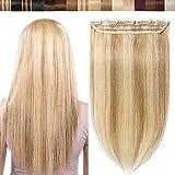 Extension Cheveux Naturel Ombré a Clip 8'(20CM)[Une Pièce à 5 Clips] Extension Noir Naturel Clip [18P613#Ash Blond & Blond Blanchi]
