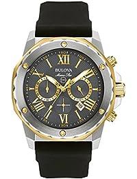 Bulova Marine Star 98B277 - Montre de créateur - pour homme - chronographe/étanche - bracelet en caoutchouc - acier inoxydable/doré