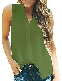Débardeur Femme Grande Taille, Manadlian Casual T-Shirts de Sport Blouses de Mousseline Camisole à Ourlet Irrégulier 2019 Nouveau Col en V Chemisier Respirant