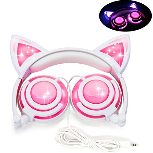 Kinder Kopfhörer, LOBKIN LED Kopfhörer, Verkabelte Kind Over-Ear Kopfhörer mit LED Katze Ohr, Leicht Faltbar headsets mit 85dB Volumen Begrenzt für Kinder, Mädchen, Jungen und Cosplayer (Cattie rosa)
