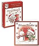 Biglietti di auguri natalizi, forma quadrata, confezione da 12, soggetto: simpatico orsacchiotto, cassetta delle lettere, pettirosso, pupazzo di neve