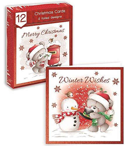Biglietti di auguri natalizi di forma quadrata: simpatico orsacchiotto, cassetta delle lettere, pettirosso e pupazzo di neve. confezione da 12