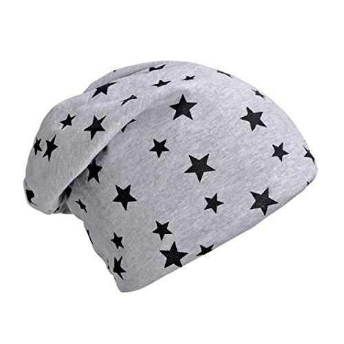 Imagen de dondon hombre gorro de invierno slouch beanie con estampado de estrellas e forro interior suave  gris claro alternativa