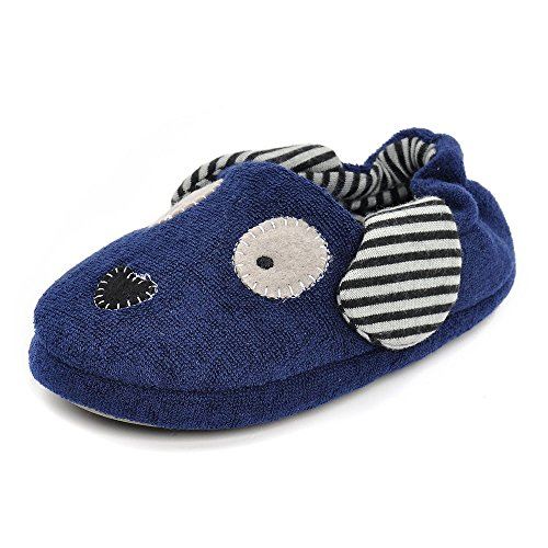 Estamico Toddler Boys' Rubber Sole Anti-skid Winter Doggy Slippers Blue UK 9-10