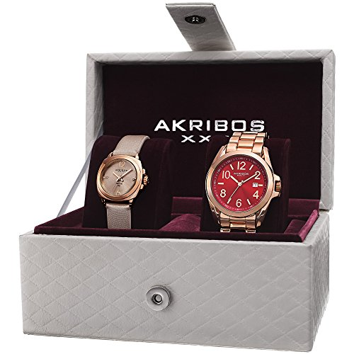 Akribos XXIV Mujer AK821RG Rose tono de cuarzo analógica Swiss reloj Set