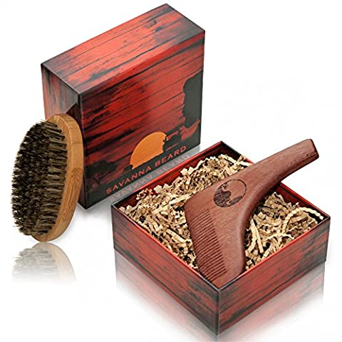 SAVANNA BEARD Beard Brush & Comb Set - Premium Grooming Beard Kit - Red Sandalwood Beard Shaping Tool for Perfect Shaving Symmetry and 100% Boar Bristle Beard Brush in Stylish Package - Ideal Gift