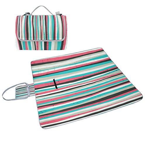 COOSUN Pink Stripes Box Picknick-Decke mit Matte Schimmel resistent und wasserdicht Camping-Matte für rving, Picknickdecke, Strand,...
