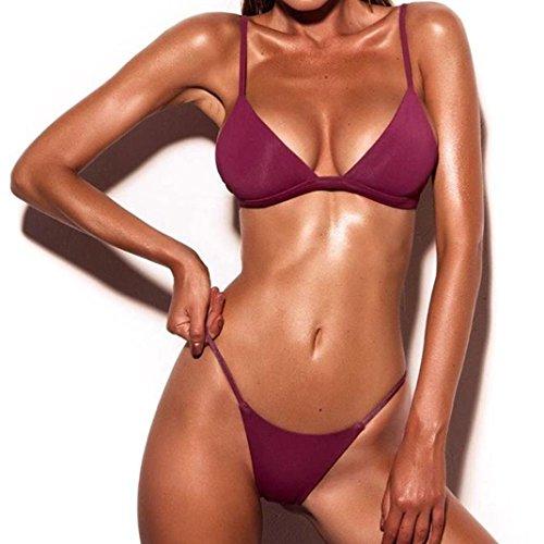 Donne push-up reggiseno imbottito spiaggia bikini set costume da bagno,Yanhoo® Halter Push Up Sportivi Sexy Bikini Costumi Da Bagno Beachwear Due Pezzi (S, vino rosso)