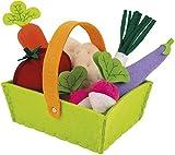 Janod Holzspielzeug - Gemüsesortiment im Korb Gemüse Kaufladen Filz Markt 8 Teile - 16 x 12 x 13 cm, Mehrfarbig