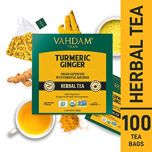 VAHDAM, Turmeric + Ginger Powerful SUPERFOOD Herbal Tea, 100 Count | Turmeric Tea Bags | Herbal Tea Bags | Powerful Wellness & Healing Properties of Turmeric Tea with Ginger | Detox Tea
