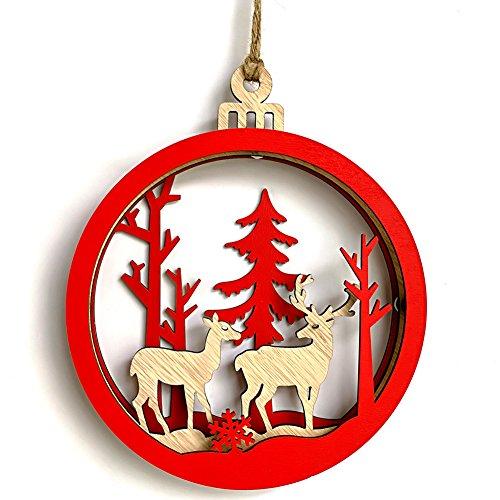 (Ocamo Home Holz Weihnachten 3D groß Leuchtmittel Form Anhänger Dekoration Cute Interieur Anhänger für House firepalce Chrismas Baum, Double Deers)