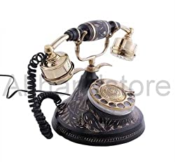 Akhandstore Table Brass Telephone Round Carved Antique Finish