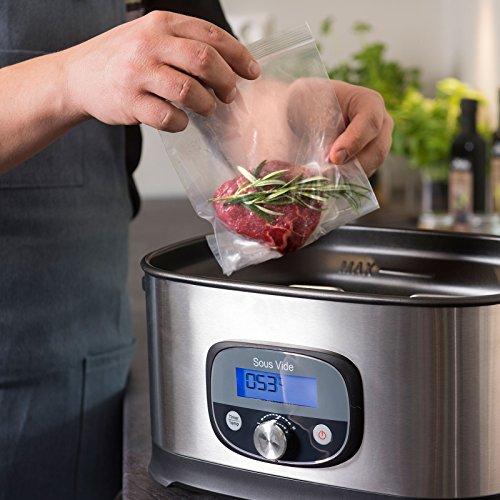 MAKU Sous Vide Vakuum-Garer | Edelstahl Premium Niedrigtemperaturgarer | 8,5 Liter Fassungsvermögen | 520 W | inklusive Haltegestell und Zange