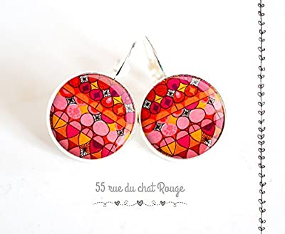 """Boucles d'oreilles cabochon de verre 14 mm """"DELHI"""" ROUGE ROSE finition argenté"""
