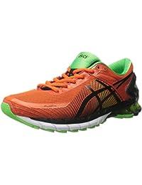 Zapato de running GEL-Kinsei 6 para hombre, Fiesta / Black / Green Gecko, 10.5 M US