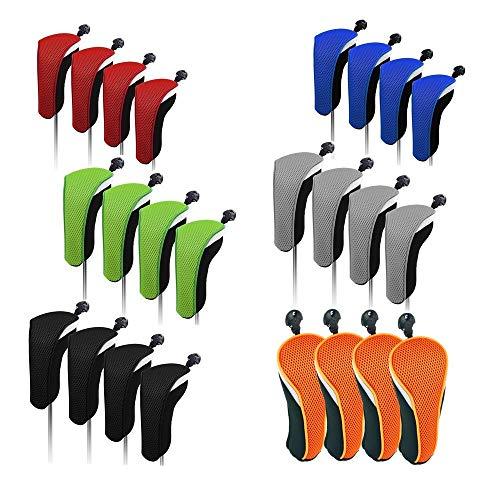 Sunbro Golf 4 Stück Golfzubehör Hybrid-Schlägerhauben Set Rescue Headcovers Utility Club Protect Austauschbare Nummernschild, Orange -