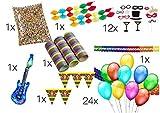 XXL Set Partydeko Party Fasching Karneval Deko Dekoration für Tisch mit Luftballons, Girlande, aufblasbare Gitarre, Fotorequisitten, Luftschlangen, Konfetti für Tisch und Party (XXL SET)