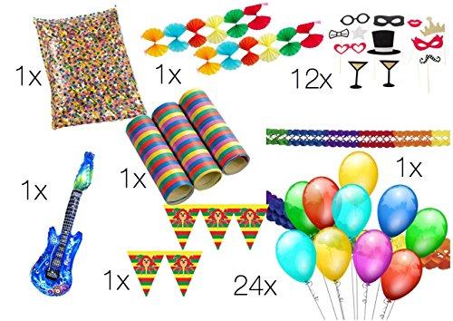 XXL Set Partydeko Party Deko Dekoration für Tisch mit Luftballons, Girlande, aufblasbare Gitarre, Fotorequisitten, Luftschlangen, Konfetti für Tisch und Party (XXL SET)