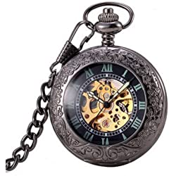Antique Hollow Case Retro Pendant Luminous Hands Scale Roman Numerals Dial Magnifying Cover Automatic Mechanical Pocket Watch with Gift Box and Chain Black