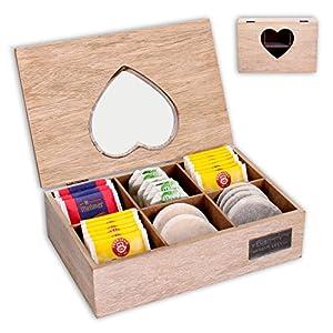 """Superbe boîte de rangement """"sweetheart, boîte à thé en bois avec fenêtre transparente"""