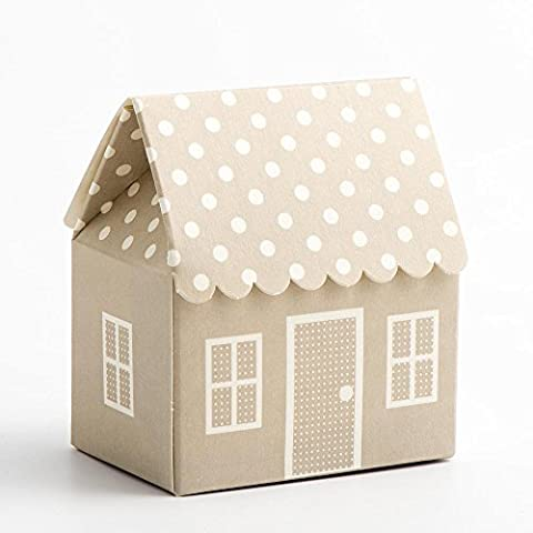 Favour Boxes Pearl Grey Polka Dot House shape, Pack of 10 for Baby Shower, christenings, baby announcement
