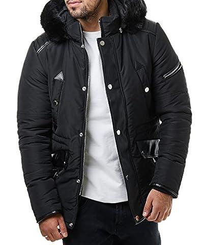 Burocs Herren Parka Winter-Jacke Gesteppt Fell Kapuze Zipper Schwarz BR1630, Größe:M, Farbe:Schwarz