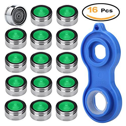Qualität-wasser-filter Hohe (Perlator Strahlregler m24 Wasserhahn Sieb Einsatz, SIMIKE Perlatoren für Wasserhähne 15pcs Material Messing von hoher Qualität verchromt mit ABS-Kunststoff-Filter + 1 Stück Universaler Perlator Schlüssel)