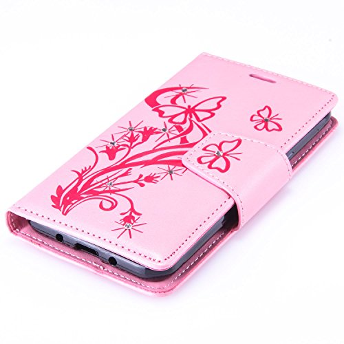 Custodia Galaxy J3 ISAKEN Cover Samsung Galaxy J3 con Strap, Elegante borsa Dente di leone Design in Pelle Sintetica Ecopelle PU Case Cover Protettiva Flip Portafoglio Case Cover Protezione Caso con S Diamnate farfalle : rosa