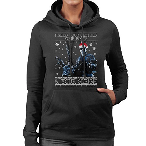 i-need-your-clothes-terminator-christmas-knit-womens-hooded-sweatshirt