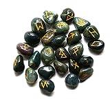 shivansh Creations Blut Stein Edelstein Runen mit Gravur Beschriftung und Tasche
