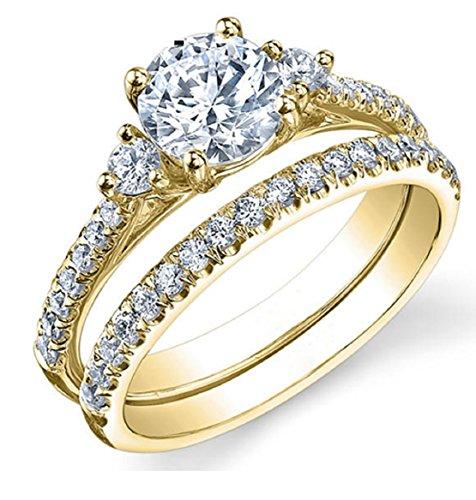 Gowe Drei Stein Lab gewachsen Diamant Ring 1ct moissanites Brautschmuck Set 14K Gelb Gold Hochzeit