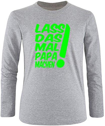 EZYshirt® Lass das mal den Papa machen Herren Longsleeve Grau/Neongrün