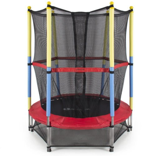 140cm Round Kids Mini Trampoline w/ Enclosure Net Pad Rebounder Outdoor Exercise