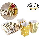 NUOLUX 50pcs Popcorn boîtes jaune Design Trio Miniature festonnée Edge partie carton bonbon conteneur régal Cartons (or)