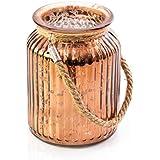 Photophore en verre LAISA avec anse, craquelé cuivre, 14,5cm, Ø10,5cm - Verre à bougies / Vase décoratif - INNA Glas