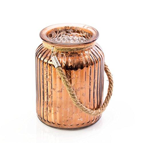 INNA Glas - Windlichtglas / Glaswindlicht Vase LAISA mit Henkel, kupfer Krakelee, 14,5 cm, Ø 10,5 cm - Windlicht Glas / Kerzenhalter