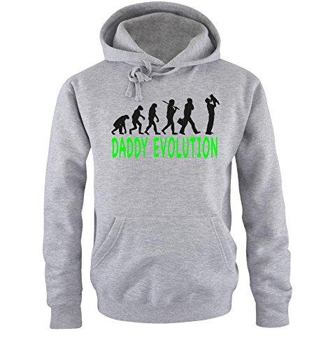 Comedy Shirts - DADDY EVOLUTION II - Uomo Hoodie cappuccio sweater - taglia S-XXL different colors grigio / nero-neon verde