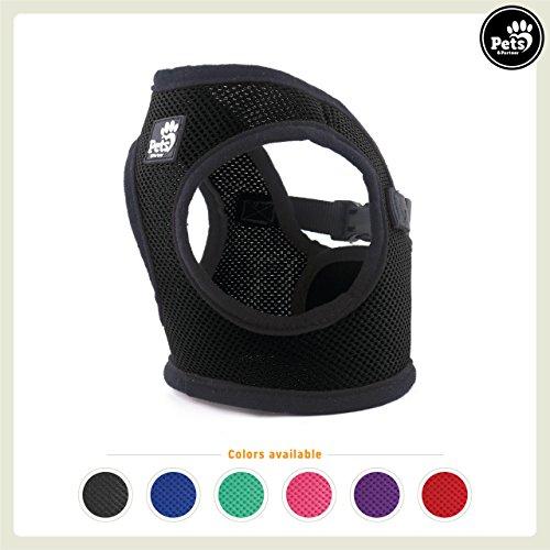 Kleine Einstellbare Anhänger (Pets&Partner® Hundegeschirr Soft Air Mesh Weste in verschiedenen Farben für kleine Hunde, S, Schwarz)