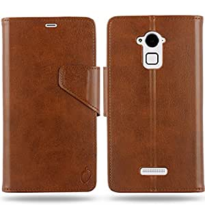 Cool Mango Business Flip Cover for CoolPad Note 3 / CoolPad Note 3 Plus - 100% Premium Faux Leather Flip Case for Cool Pad Note 3 / CoolPad Note 3 Plus with 360 Degree Stitching, Magnetic Lock, Card & Currency Wallet – Limited Time Offer Pricing (Cocoa Brown)