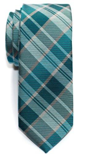 Cravate Retreez Fine Slim moderne tissée en tartan pour homme Turquoise