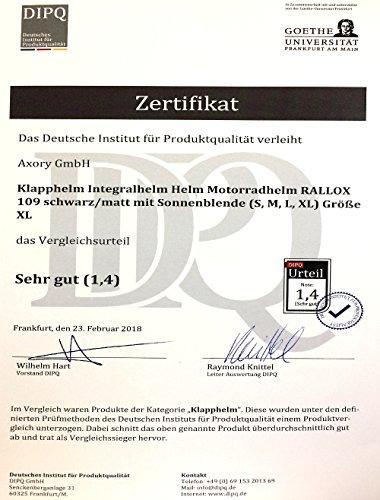 Klapphelm Integralhelm Helm Motorradhelm RALLOX 109 schwarz/matt mit Sonnenblende (S, M, L, XL) Größe L - 6