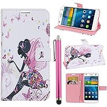 Hunye PU Cuero Carcasa Funda para Huawei Ascend G7 Flip Case con Soporte Tapa Chica Mariposa Patrón Cover con Stylus Pen rosa