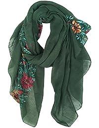 DAMILY Coton Châle Foulard/Etole/Echarpe avec Fleurs Brodées pour Femmes Multicolores