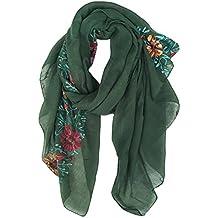 DAMILY Coton Châle Foulard Etole Echarpe avec Fleurs Brodées pour Femmes  Multicolores 5b40a38fd0c