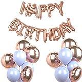 PuTwo Palloncini Compleanno 31 Pezzi Palloncini in Alluminio e Lattice Set di Decorazione di Festa di Compleanno Articoli per feste Decorazioni per feste Decorazioni di compleanno - Oro Rosa e Macaron Grigio