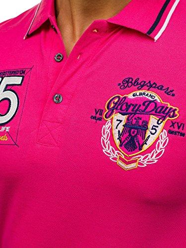 BOLF Herren Polo T-Shirt Hemd Shirt Kurzarm Slim fit Party 3C3 Motiv Rosa