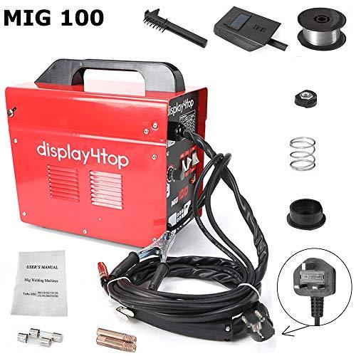 Display4top Soldador hilo continuo sin gas MIG 100 230V Máquina de Soldadora Aparato Eléctrico de Soldadura Máquina de Soldar Portátil para Casa Color Rojo (Norma británica)