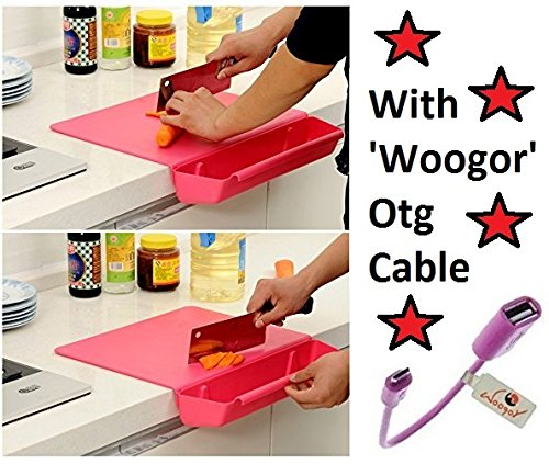 Woogor Cutting Board, Creative Antibacterial Foldable Chopping Board With Removable Basket Container for Vegetables,Fruit Slice With Woogor Otg cable Random Colors