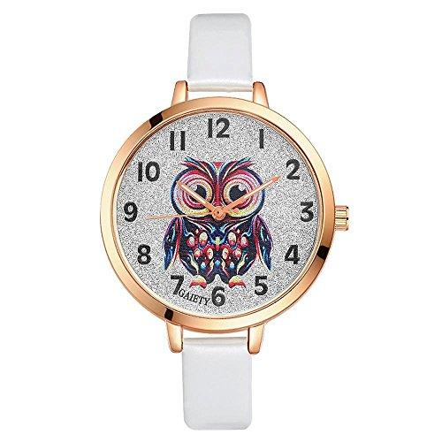 Sonew Frauen Uhr Reizende Karikatur Eulen Armbanduhr Quarz analoge Runde Uhr PU Bügel Legierungs Kasten Bestes Geschenk für Mädchen Damen(White)