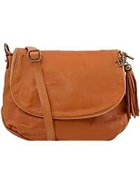 Tuscany Leather TL Bag - Sac bandoulière besace en cuir souple avec pompon Sacs à bandoulière en cuir